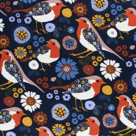 French terry fabric - green Folky Bird x 10cm