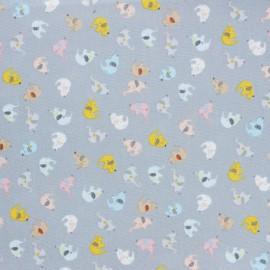 ♥ Coupon 120 cm X 110 cm ♥Dear Stella I'll all ears Poplin fabric - blue Elephant Chain