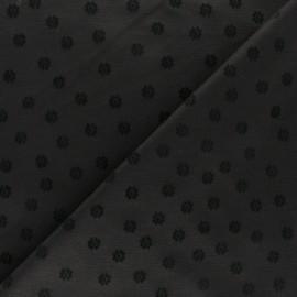 Tissu Jersey Milano velours floqué Tina - noir x 10cm