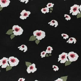 Tissu Jersey Milano fluide fleuri- noir x 10cm
