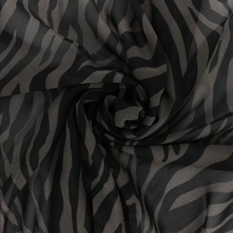 Tissu crêpe Tigresse - Gris x 10cm