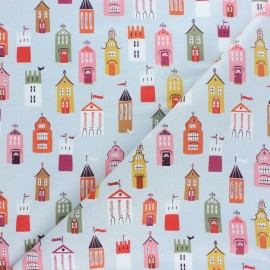 Cotton Dashwood fabric - Elinop - blue House x 10cm