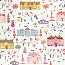 Cotton Dashwood fabric - Elinop - white villa x 10cm