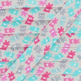 Biais Coton Fantaisie Nounours - Rose x 1m