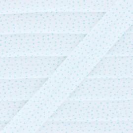 Biais Coton Petit Pois Bio - Bleu  x 1m