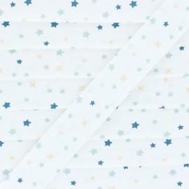 Biais Coton Flocons - Étoiles - Bleu/Doré  x 1m