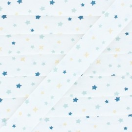 Cotton Bias Binding - Blue/ Golden Snow Flakes-Stars x 1m