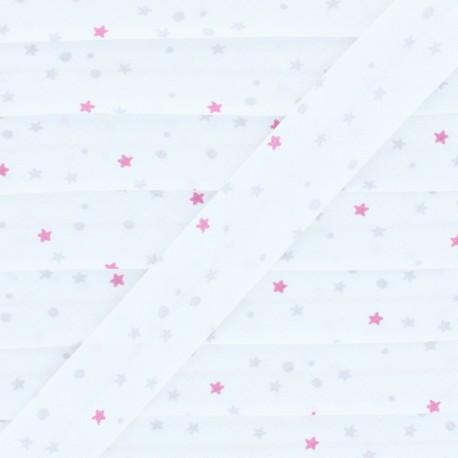 Biais Coton Flocons - Étoiles - Rose/Argenté  x 1m