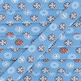 Biais Coton Feu d'artifice - Bleu x 1m