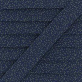 Biais Coton Branchette - Bleu marine/Vert x 1m