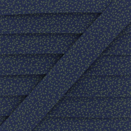 Cotton Bias Binding - Navy blue/Green Little Branch x 1m