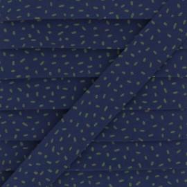 Biais Coton Confettis Bio - Bleu Marine/Kaki x 1m