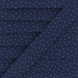 Organic Cotton Bias Binding - Navy Blue Confetti x 1m