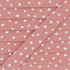 Biais Coton Confettis Géométriques  - Rose x 1m