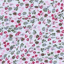 Biais Polycoton Petit Jardin - Rose  x 1m
