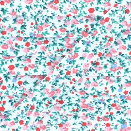 Biais Polycoton Mini fleur - Rose  x 1m