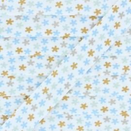 Biais Coton Flocons - Bleu/Vert  x 1m