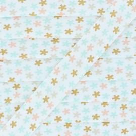 Biais Coton Flocons - Vert Menthe/Rose  x 1m