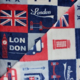 Tissu Doudou London City - bleu x 10 cm