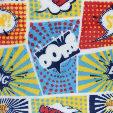 Tissu Doudou Comics - jaune x 10 cm