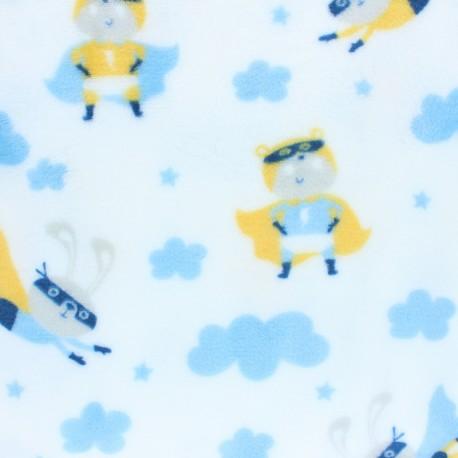 Tissu Doudou planète pastel - blanc x 10 cm