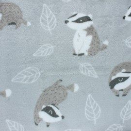 Flanell fleece fabric - white Super-lapin x 10cm