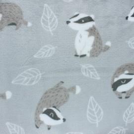 Tissu Doudou Super-lapin - blanc x 10 cm