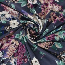 Tissu jersey viscose Pivoine en Fleur - Gris x 10 cm