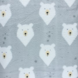 Flanell fleece fabric - grey Badger x 10cm