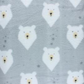 Tissu Doudou Blaireau - gris x 10 cm
