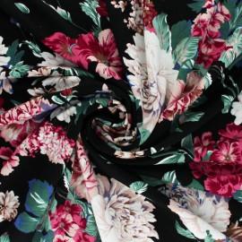 Tissu jersey viscose Pivoine en Fleur - Noir x 10 cm