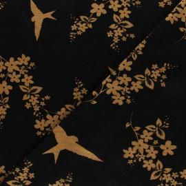 Tissu jersey viscose Hirondelles d'Avril - Noir x 10 cm