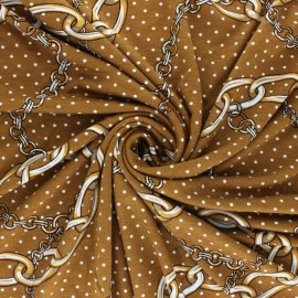 Tissu Jersey Viscose Chaînette - Ocre x 10 cm