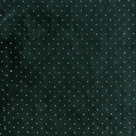 Tissu jersey velours Strass - vert foncé x10cm