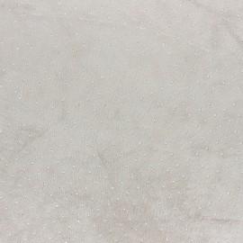 Tissu jersey velours Strass - bleu paon x 10cm