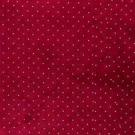 Rhinestone velvet jersey fabric - red x 10cm