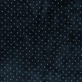 Rhinestone velvet jersey fabric - navy blue x 10cm