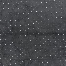 Tissu jersey velours Strass - prune x 10cm
