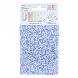 Tissu thermocollant Fleurs Bleues
