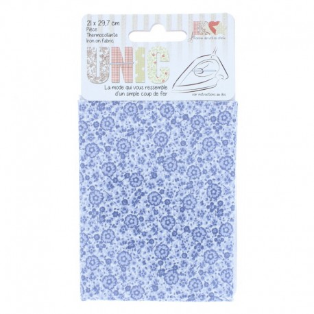 Iron on fabric flowers - blue