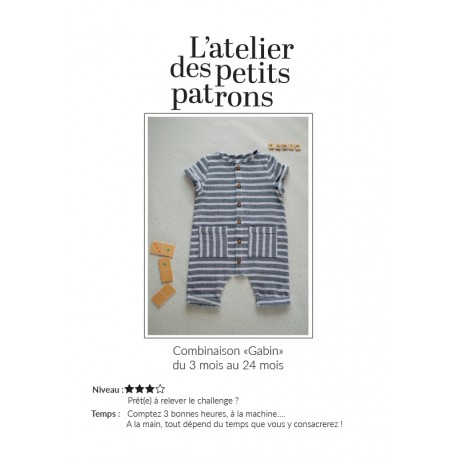 Overall Sewing Pattern - L'Atelier des Petits Patrons Gabin