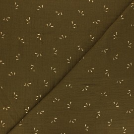 Double cotton gauze fabric - green Eucalyptus gold Petal x 10cm