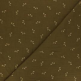 Double cotton gauze fabric - green Eucalyptus gold Petal x 10cm