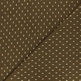 Double cotton gauze fabric - Olive green gold dash x 10cm