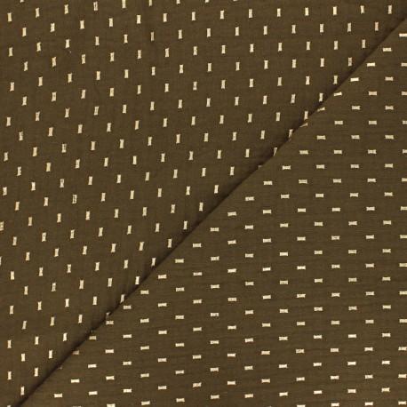 Double cotton gauze fabric - Peacock green gold dash x 10cm