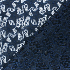 Elastane Lace Fabric - navy blue Estelle x 10cm