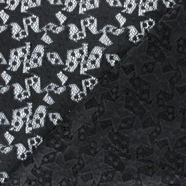 Tissu Dentelle élasthanne Estelle - noir x 10cm