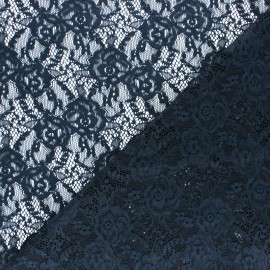 Elastane Lace Fabric - navy blue Amanda x 10cm