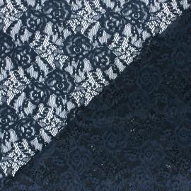 Tissu Dentelle élasthanne Amanda - bleu marine x 10cm