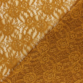 Elastane Lace Fabric - ochre Amanda x 10cm
